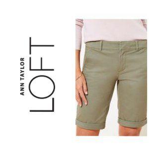 LOFT Cotton Green Bermuda Shorts